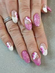 pink gel polish with one stroke flower nail art melhores