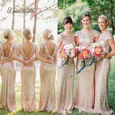 chagne bridesmaid dresses 2017 sparkly pale gold sequined sheath bridesmaid dress cowl back