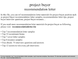 project buyer recommendation letter
