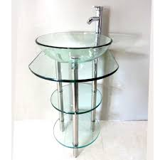 Glass Bathroom Sink Vanity Powder Room Ideas With Glass Bathroom Vanity With Chrome Metal