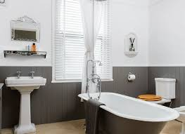 edwardian bathroom ideas traditional bathroom with grey roll top bath and painted panelling