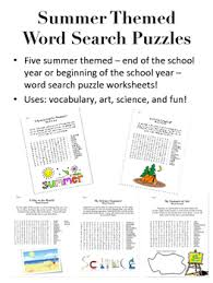 summer themed word search puzzles back to or end of year