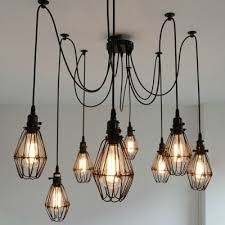 how to wire a l with multiple bulbs industrial wire guard 8 bulbs multi light pendant takeluckhome com