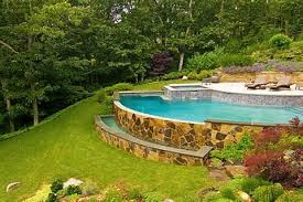 Sloping Backyard Landscaping Ideas Sloped Backyard Pool Landscaping Ideas Sloped Back Yard Ideas