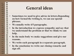 informal letters giving advice ppt video online download