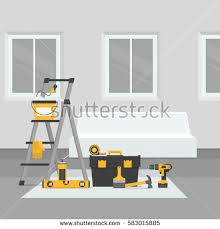 Home Interior Vector by Renovation Room Home Interior Renovation Flat Stock Vector