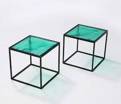 multiple green coloured glass side tables with metal