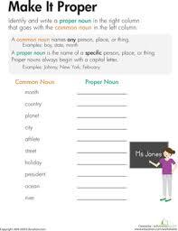 nouns make it proper third grade reading proper nouns and