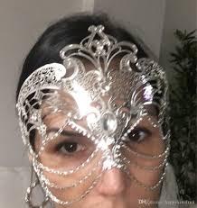 silver masquerade masks for women white black silver gold wedding party mask men women chain