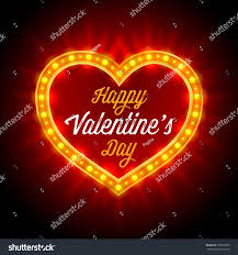 valentines day lights retro neon lights frame heart shape stock vector 358593203