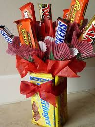 candy bar bouquet with edible vase perfect for valentine u0027s day or