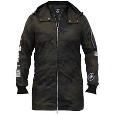 mens camouflage long jacket brave soul hooded mac trench coat