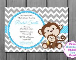 monkey boy baby shower blue and brown monkey boy baby shower invitation and free