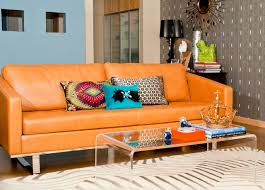 Living Room With Orange Sofa Glenrosa Retro Modern Living Room By Egg