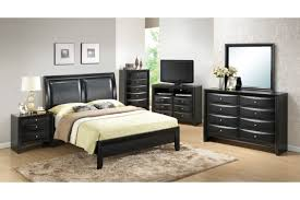 Bedroom Set With Leather Headboard Black High Gloss Polished Wooden Bed Frame With Leather