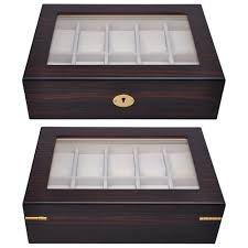 10 slot display wood top glass jewelry storage wooden