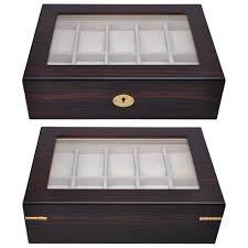 10 slot display wood top glass jewelry storage wooden