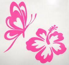 butterfly hibiscus flower car window vinyl decal sticker choose