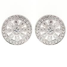 diamond earrings uk 18ct white gold 0 56ct deco style stud earrings jewellery