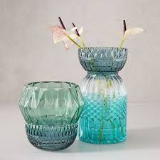 Turquoise Glass Vase Colorblock Textured Glass Vases West Elm