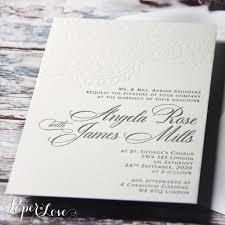original letterpress elegant cream wedding day invitation luxury