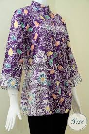 Baju Batik Batik baju batik warna ungu dua kombinasi motif batik batik wanita elegan