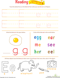 get ready for reading all about the letter e worksheet