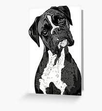 boxer dog black and white boxer dog greeting cards redbubble