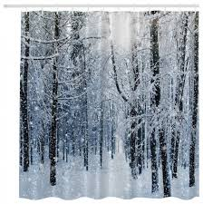 Outdoor Winter Curtains Shop Houzz Morethancurtains Winter Forest Fabric Shower Curtain