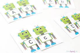 robot alphabet card and activities