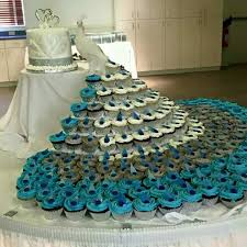 peacock wedding ideas peacock cupcake display decorating cakes peacocks