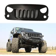 jeep wrangler front grill lantsun front matte black 2007 2017 transformer grille grid grill