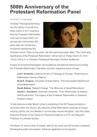 thesis of martin luther the significance of the protestant reformation 500 years later tagged with christian theological seminary cts martin luther