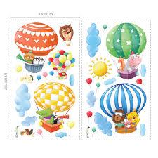 decowall da 1406b animal hot air balloons wall stickers animal hot air balloons wall stickers
