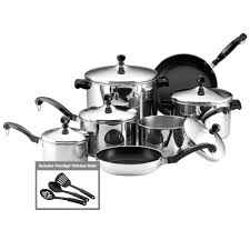 home pans farberware classic series 15 piece silver cookware set with lids