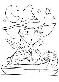 funny young witch surprised halloween coloring netart