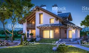 chalet style house 3d rendering of modern cozy house in chalet style stock vector