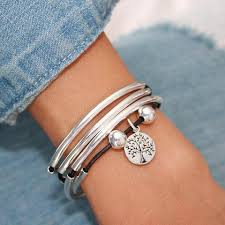 leather bracelet with silver charms images Tree of life silver charm for lizzy james charm bracelets jpg