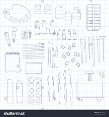 hand drawn painting tools isolated on stock vector 388063456