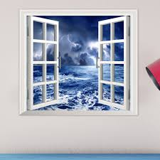 creative 3d stickers shop best 3d wall art decor stickers online stormy sea pag 3d artificial window wall decals balck cloud room stickers home wall decor gift