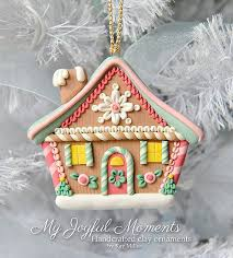 handcrafted polymer clay gingerbread house ornament by miller