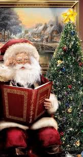 santa claus story reading beautiful christmas tree