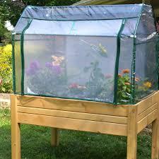 raised mini greenhouse herb flower vegetable garden planter box