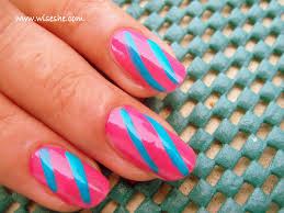 simple nail art design in pink and blue with step by step pictures