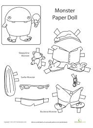monster paper doll printable