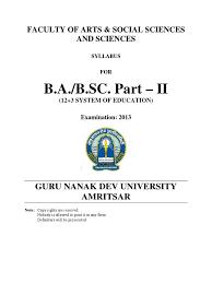 ba part ii gndu syllabus sikhism languages