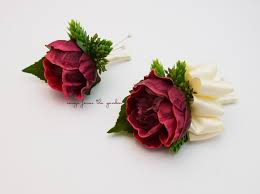 Corsage For Homecoming Burgundy Ivory Real Touch Peony Wedding Boutonniere U0026 Corsage Prom