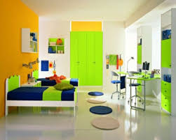 bright colored wardobe with orange wall color for unique bedroom