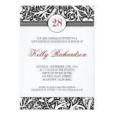 beautiful black and white damask birthday invitation card