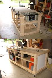 saw table work bench created storage cabinet on side for all